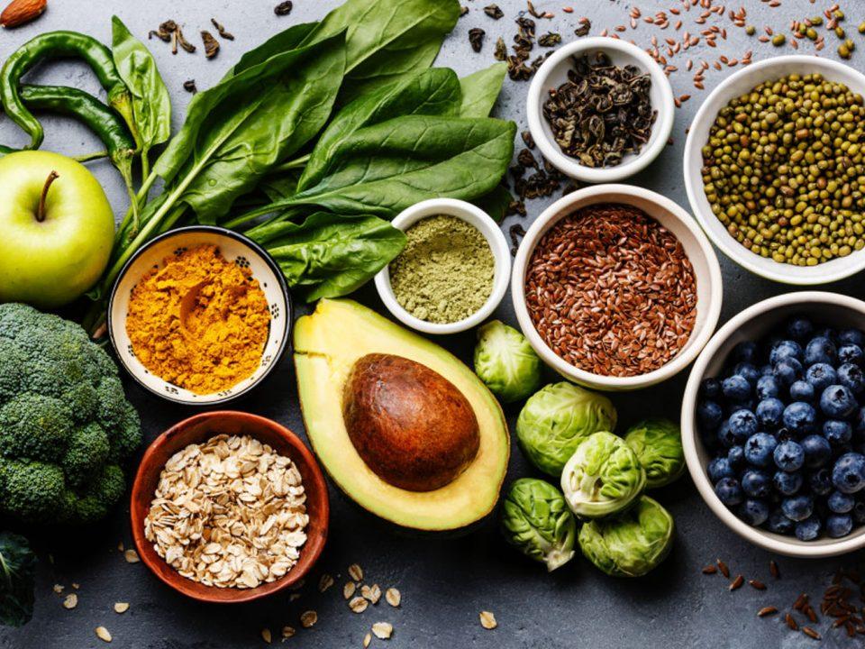 Foto com alimentos saudávveis